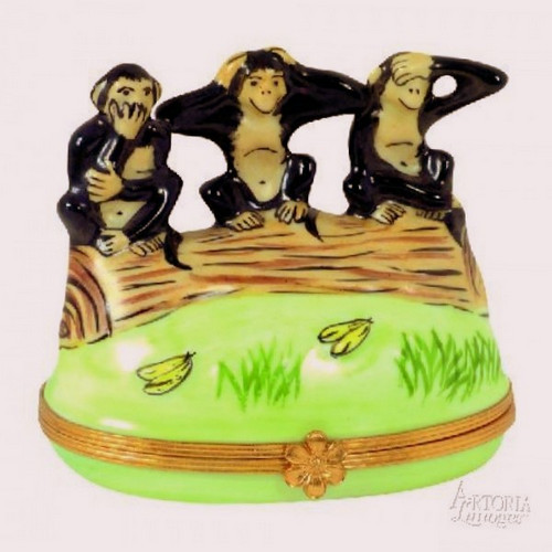 Artoria Three Monkeys Limoges Box