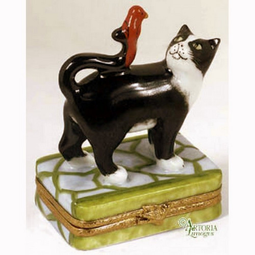 Artoria Tuxedo Cat with Red Bird Limoges Box
