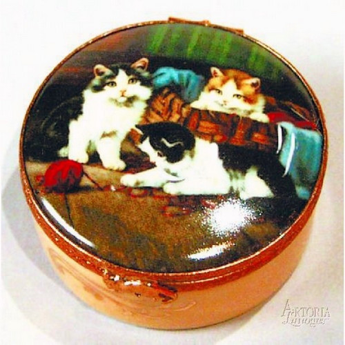 Artoria Round Boxes with Cats set of 4 Limoges Box