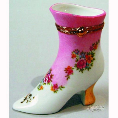 Artoria Boot with Pink Flower  Limoges Box