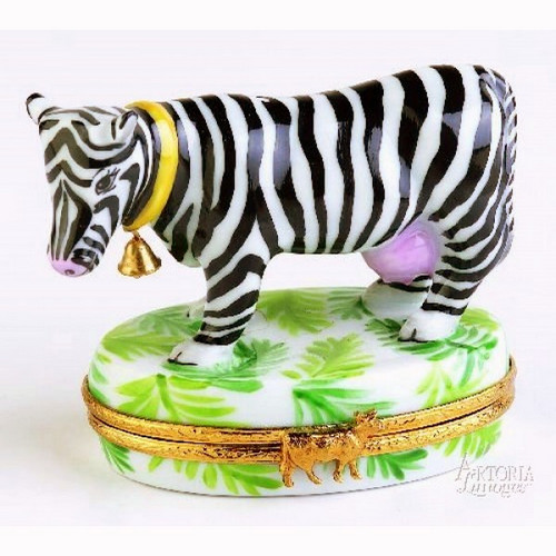 Artoria Zebra Cow Limoges Box