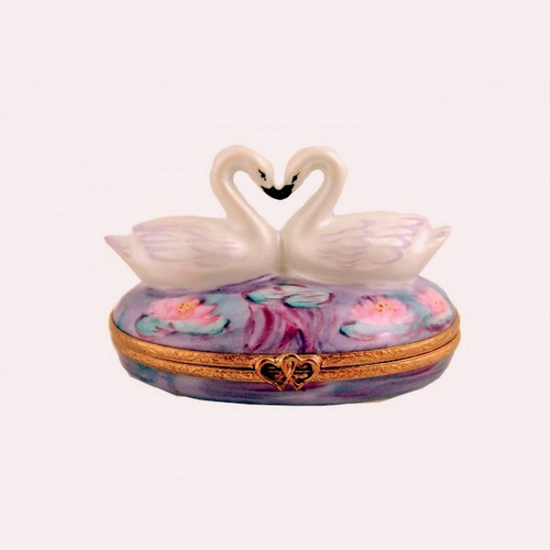 Artoria Two Swans on Waterlilies Limoges Box