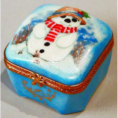 Artoria Square with Snowman  Limoges Box
