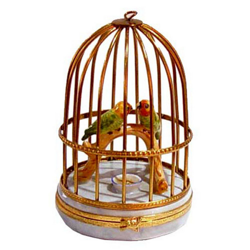 Artoria Small Parakeets Limoges Box
