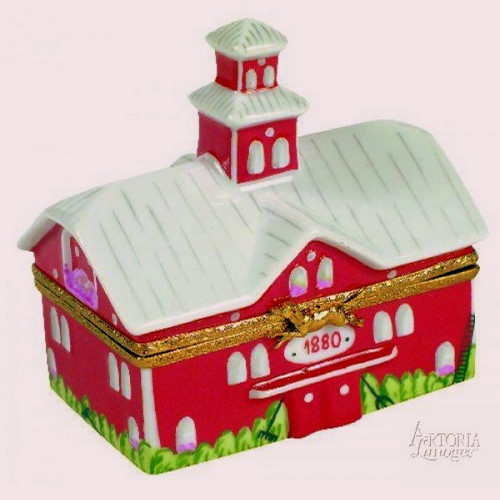 Artoria Big Red Barn with Cow Limoges Box