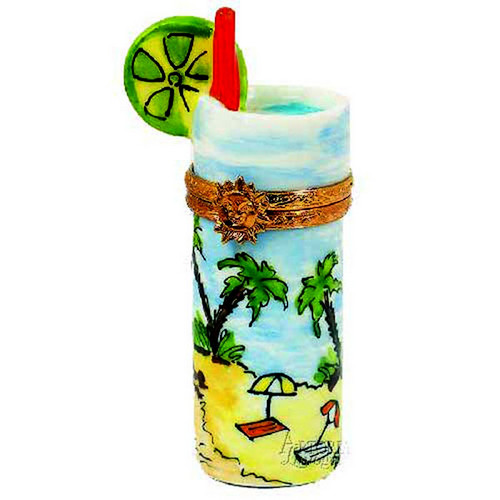 Artoria Tropical Drink with Palm Tree Limoges Box