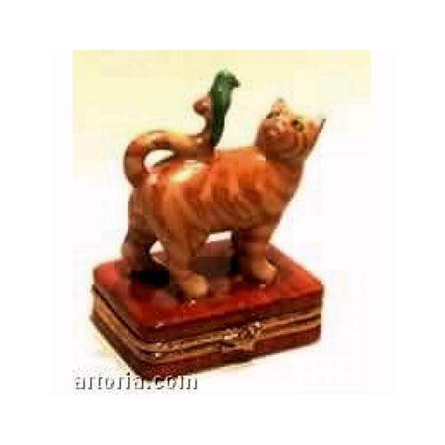 Artoria Orange Cat with Green Bird Limoges Box