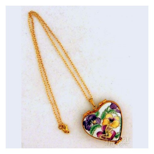 Artoria Heart Pendant: Pansy Limoges Box