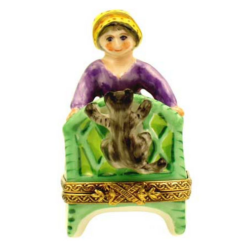 Chamart Young Girl on a Chair with Cat Limoges Box