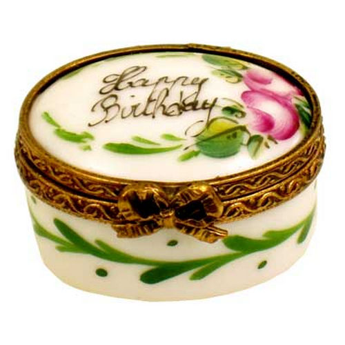 Chamart Happy Birthday Miniature Oval Limoges Box