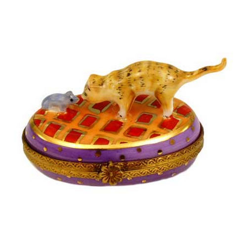 Chamart Cat and Mouse Oval Limoges Box