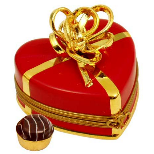 Rochard Red Heart with Gold Bow and Truffle Limoges Box
