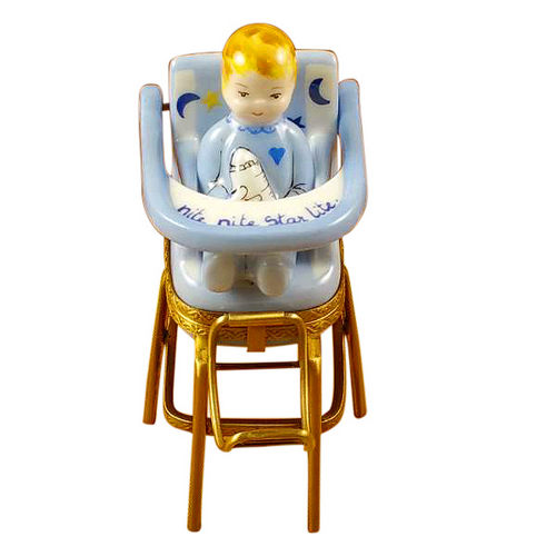 Rochard Baby in Blue High Chair Limoges Box
