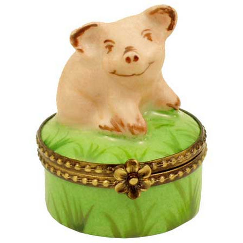 Rochard Mini Pig on Green Base Limoges Box
