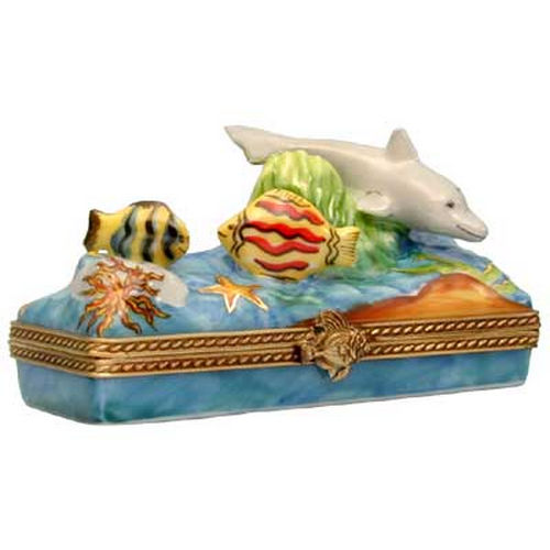Rochard Ocean Scene with Dolphin Limoges Box