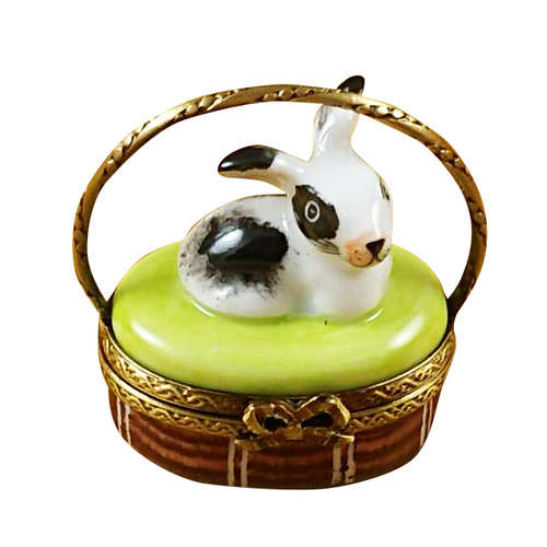 Rochard Basket with Mini Rabbit Limoges Box