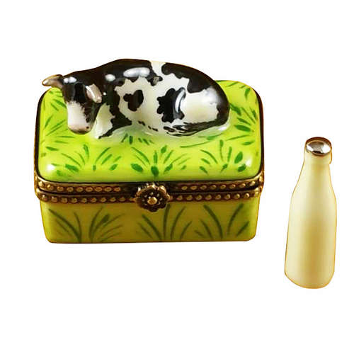 Rochard Cow with Milk Bottle Limoges Box