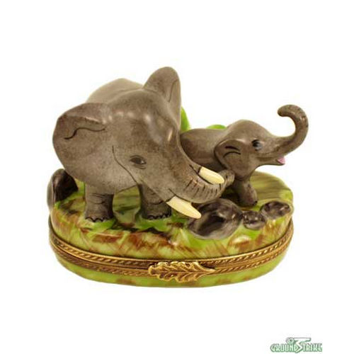 Rochard Elephant with Baby Limoges Box