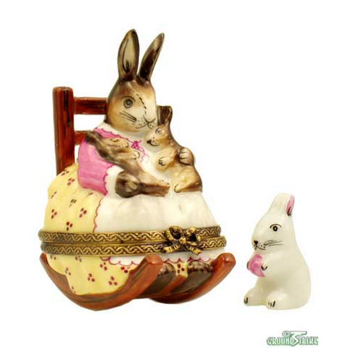 Rochard Mother Rabbit Rocking with Baby Limoges Box