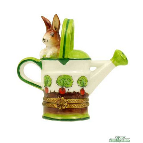 Rochard Watering Can with Rabbit Limoges Box