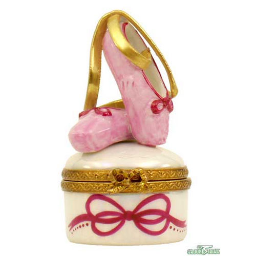 Rochard Ballet Shoes on Round Limoges Box