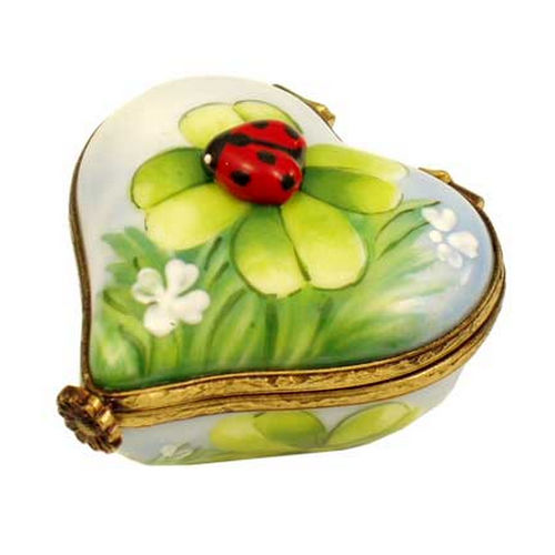 Rochard Ladybug on Heart with Clover Limoges Box