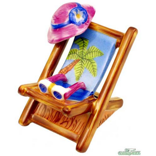 Rochard Lounge Chair with Palm Tree Limoges Box