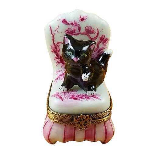 Rochard Black Cat on Toile Chair Limoges Box