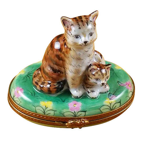 Rochard Mother Cat with Baby Limoges Box