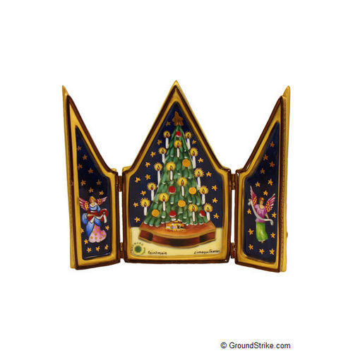 Rochard Triptych Christmas Tree Limoges Box