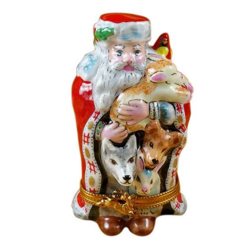 Rochard Santa with Animals Limoges Box