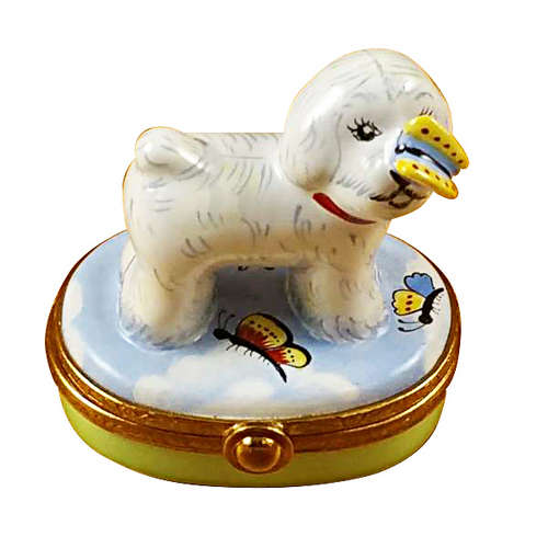 Rochard Bichon Frise with Butterfly Limoges Box