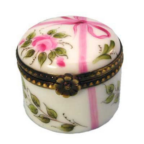 Rochard Baby's First Curl Round Pink Limoges Box