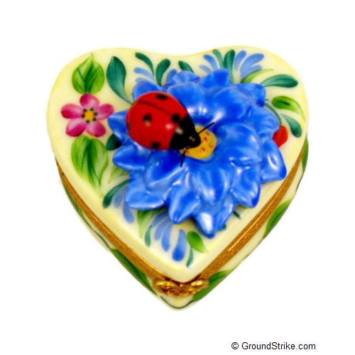 Rochard Heart Blue Flower with Lady Bug Limoges Box
