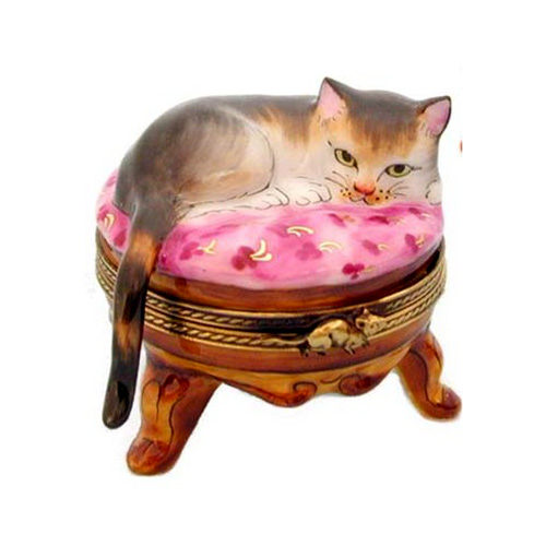 Rochard Cat on Pink Stool Limoges Box