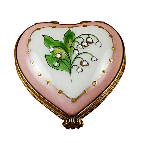 Rochard Mini Heart Lily of the Valley Limoges Box