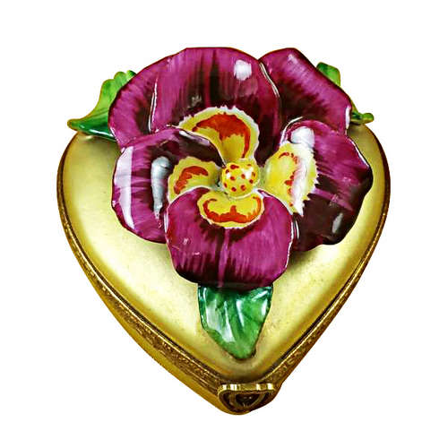 Rochard Pansy on Gold Heart Limoges Box