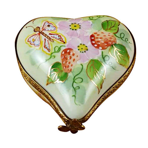 Rochard Small Heart with Strawberries Limoges Box