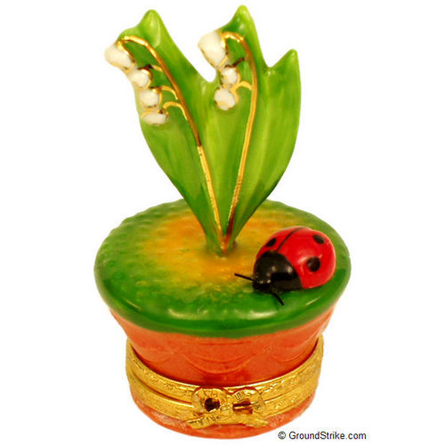 Rochard Lily of the Valley with Lady Bug in Pot Limoges Box