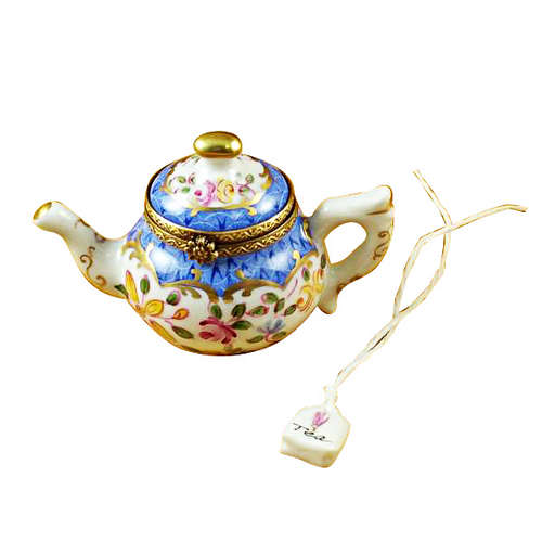 Rochard Teapot Blue Scales with Tea Bag Limoges Box