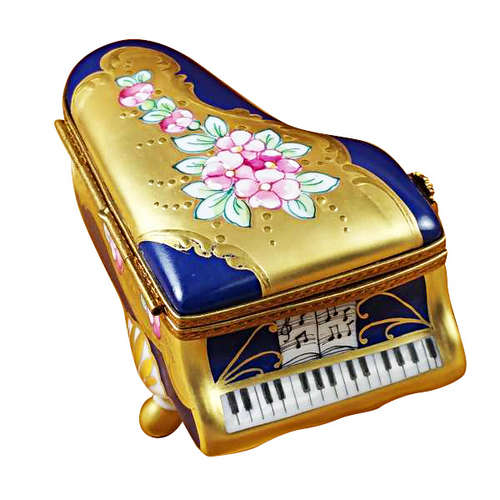 Rochard Grand Piano Roses Blue/Gold Limoges Box