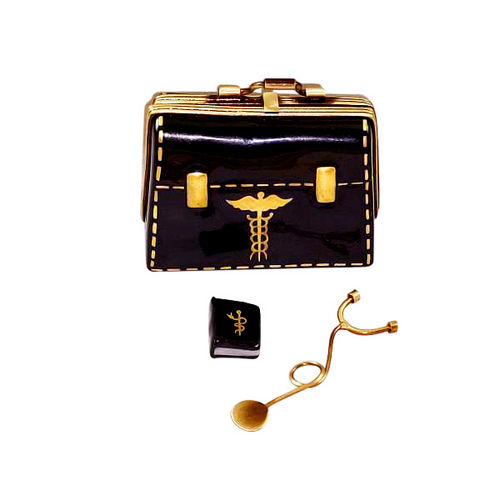 Rochard Doctor's Bag with Stethoscope Limoges Box