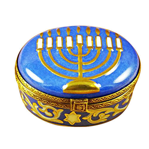Rochard Menorah-Blue Limoges Box
