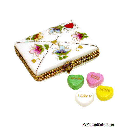 Rochard Envelope with Conversation Hearts Limoges Box