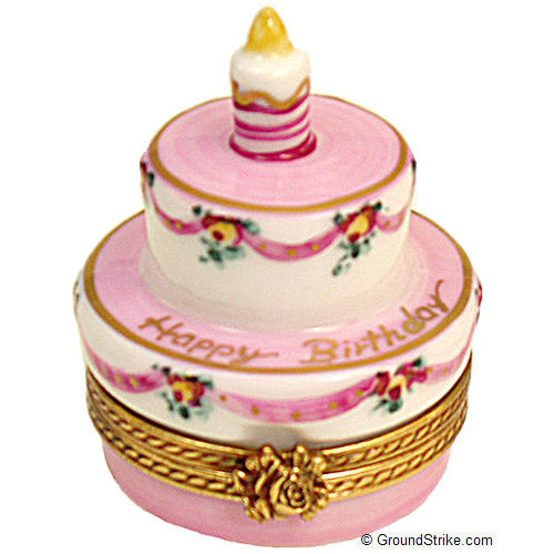 Rochard Birthday Cake with Pink Candle Limoges Box