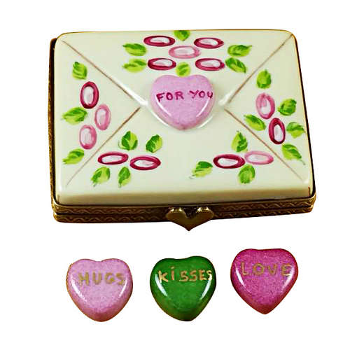 Rochard Envelope - For You with 3 Candy Hearts Limoges Box