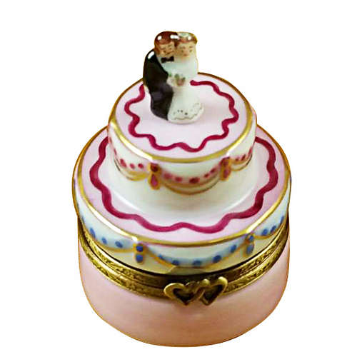 Rochard Mini Wedding Cake with Bride and Groom Limoges Box