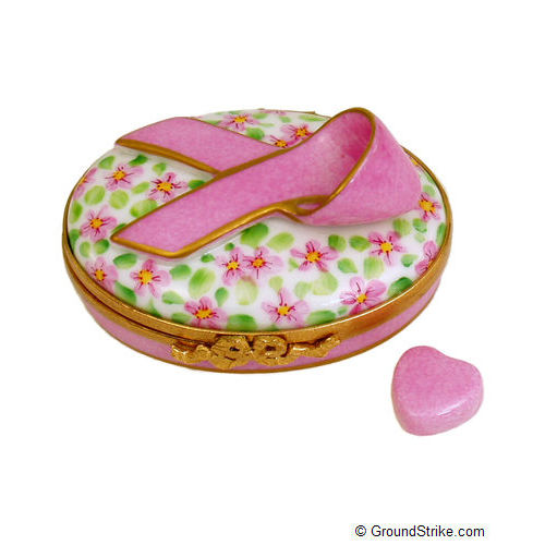 Rochard Pink Breast Cancer Ribbon Limoges Box
