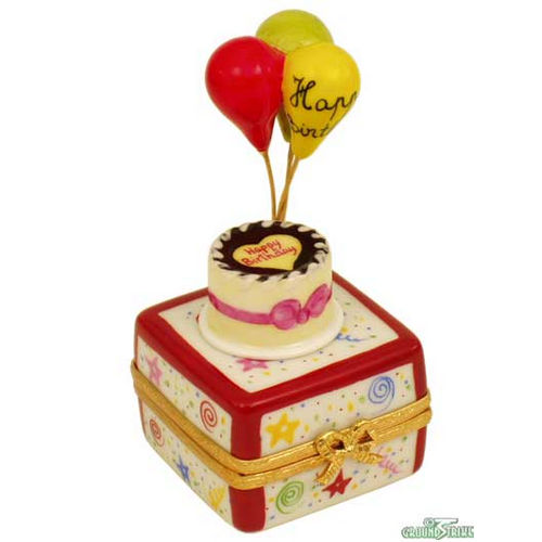 Rochard Birthday Cake with Balloons and Confetti Limoges Box