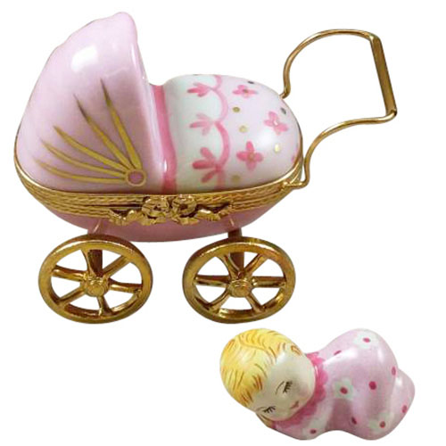Rochard Baby Carriage Pink Limoges Box